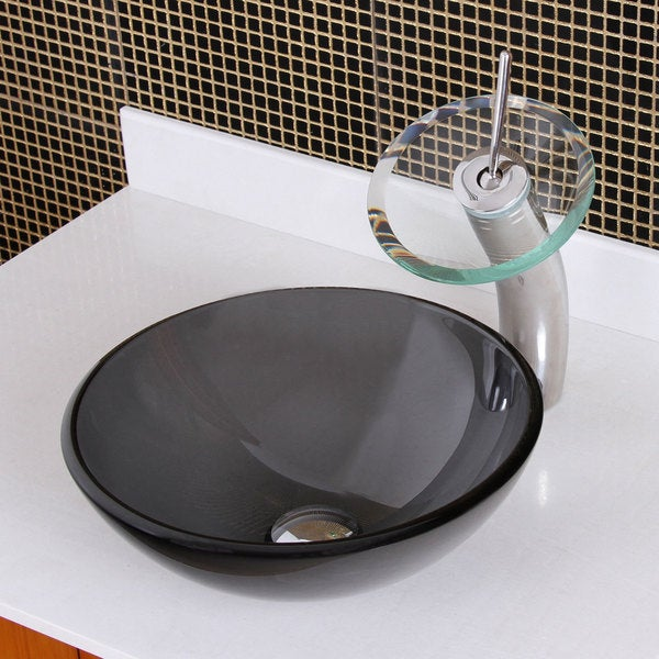 Small Glass Vessel Sinks : ... GD54S New Bathroom Natural Small Clear Grey tempered glass Vessel sink