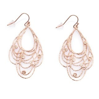 De Buman 18k Rose Goldplated Crystal Dangle Earrings