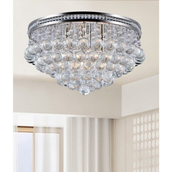 Eleanor Bright Nickel and Crystal Flush-mount Ceiling Chandelier