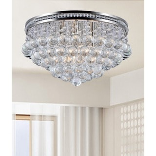 Eleanor Satin Nickel and Crystal Flush-mount Ceiling Chandelier