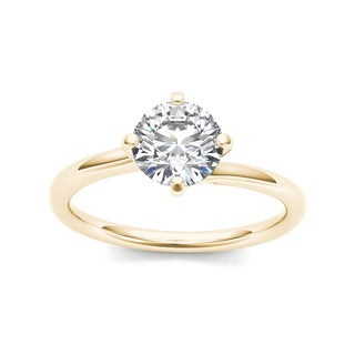 De Couer 14k Yellow Gold 1ct TDW Diamond Solitaire Ring (H-I, I1-I2)