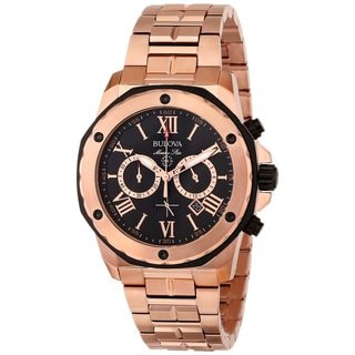 Bulova Men's Marine Star Rose Goldplated Stainless Steel Watch