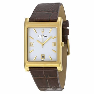 Bulova Men's Goldtone Stainless Steel Leather Watch