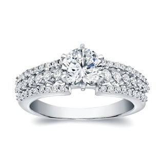 Auriya 14k White Gold 1 2/5ct TDW Certified Round Diamond Engagement Ring (H-I, SI1-SI2)