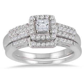 10k White Gold 7/8ct TDW Diamond Halo Bridal Set (I-J, I1-I2)