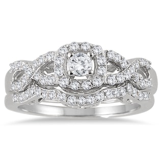 Marquee Jewels 10k White Gold 3/4ct TDW Diamond Halo Bridal Ring Set (I-J, I1-I2)