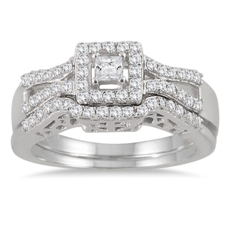 Marquee Jewels 10k White Gold 3/5ct TDW Diamond Halo Bridal Ring Set (I-J, I1-I2)