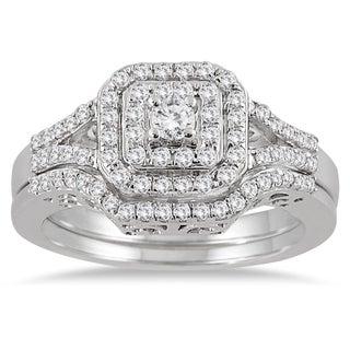 10k White Gold 3/5ct TDW Diamond Halo Bridal Ring Set (I-J, I1-I2)