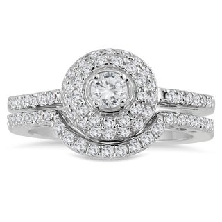 10k White Gold 3/4ct TDW Diamond Halo Bridal Set (I-J, I1-I2)