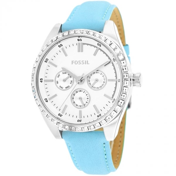 Fossil Women's BW1441 Carissa Chronograph Blue Leather Watch