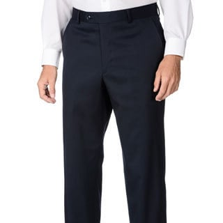 Henry Grethel Men's Big & Tall Navy Flat-front Dress Pants