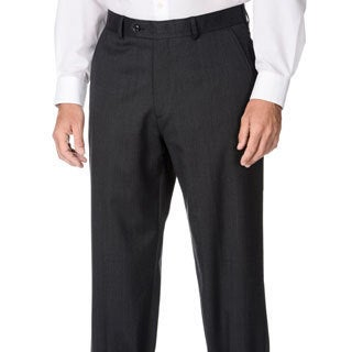 Palm Beach Men's Big & Tall Charcoal Stripe Dress Pants