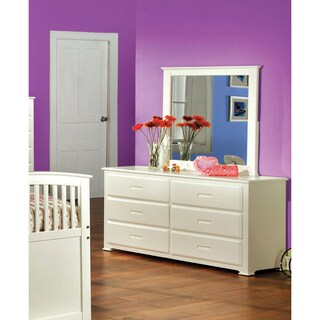 Furniture of America Annetta White 2-Piece Dresser and Mirror Set