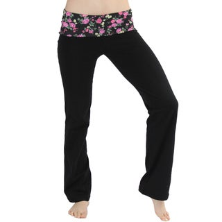 ToBeInStyle Women's Floral Print Fold-over Waistband Yoga Pants