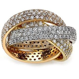 Diamonds for a Cure 18k Tri-tone Gold 5 3/4ct TDW Multi-row Diamond Ring (G-H, VS1-VS2)
