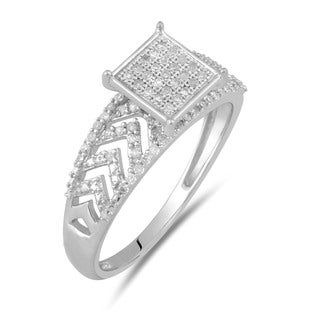 Sterling Silver 1/4ct TDW Fancy Diamond Ring (GH-I2-I3)