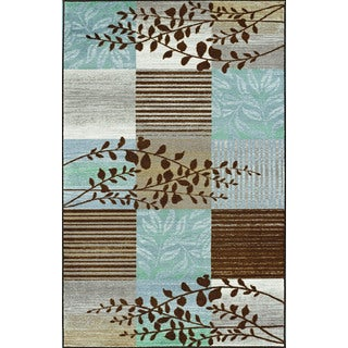 'Carmel' Brown, Taupe and Blue Rectangular Rug (8'2 x 10')