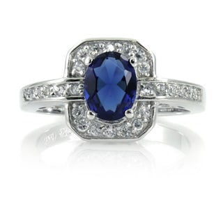 Sterling Silver Antique-style Blue and White Cubic Zirconia Art Deco Ring