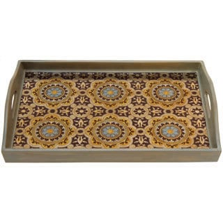 Tan/ Mustard Rectangular Wood and Glass Rabat Tray