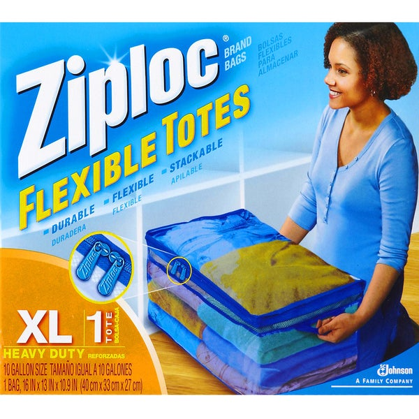 Set of Six (6) Ziploc 10-Gallon XL Flexible Totes