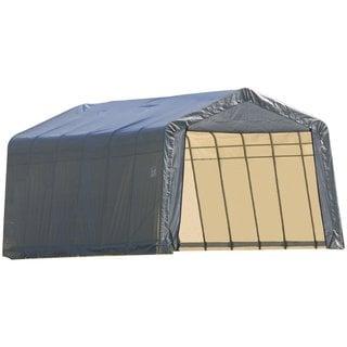 Shelterlogic Outdoor Garage Automotive Boat Car Vehicle Peak Style Storage Grey Shed 13' Width x 20' Length x 10' Height / 73432
