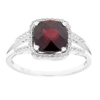 10k White Gold 1/5ct TDW Diamond Halo and Gemstone Ring (G-H, I1-I2)