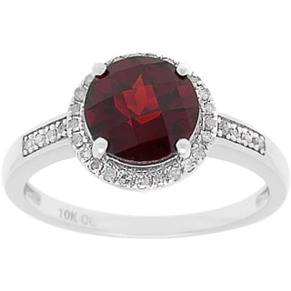 10k White Gold 1/7ct TDW Diamond Halo and Round Checkerboard-cut Gemstone Ring (G-H, I1-I2)