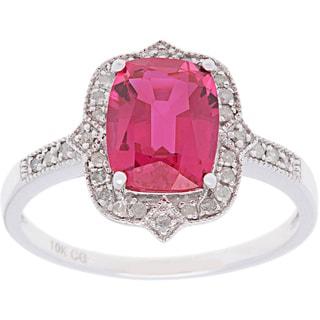 10k White Gold 1/6ct Diamond and Gemstone Ring (G-H, I1-I2)