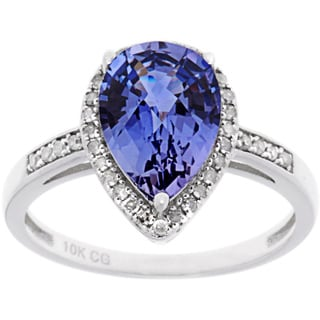 10k White Gold Sapphire, Ruby or Tanzanite and 1/5ct TDW Diamond Ring (G-H, I1-I2)