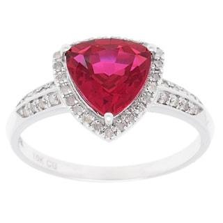 10k White Gold Sapphire, Ruby or Tanzanite and 1/5ct TDW Diamond Ring (G-H, I1-I2)