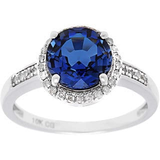 10k White Gold with 1/7ct TDW Genuine Diamond and Round Gemstone Vintage-style Ring (G-H, I1-I2)