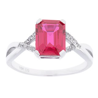10k White Gold Ring Sapphire, Ruby or Tanzanite and 1/10ct TDW Genuine Diamond Ring (G-H, I1-I2)