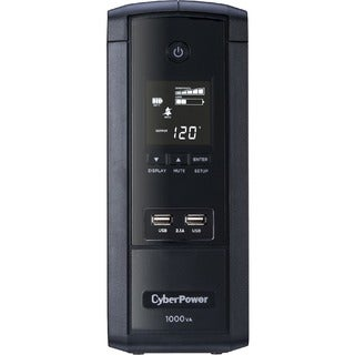CyberPower 1000VA BRG1000AVRLCD UPS with 600W, AVR, LCD, and 2.1 USB