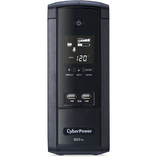 CyberPower 850VA BRG850AVRLCD UPS with 510W, AVR, LCD, and 2.1 USB Ch