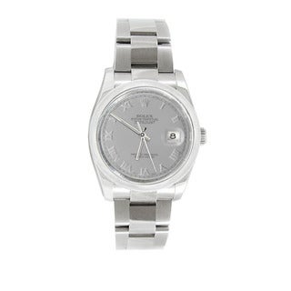 Pre-owned Rolex Men's Datejust 116200 Stainless Steel Silver Roman Watch