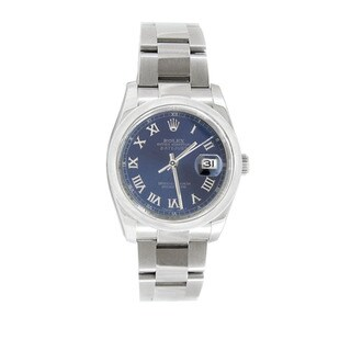 Pre-owned Rolex Men's Datejust 116200 Stainless Steel Blue Roman Watch