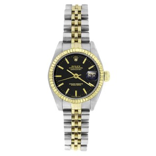 Pre-owned Rolex Women's 69173 Datejust Two-Tone Black Stick Watch