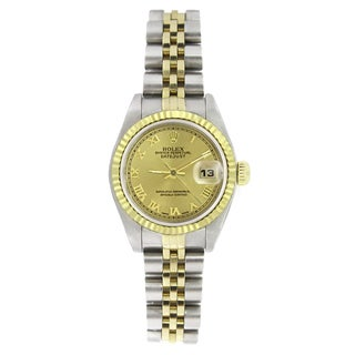 Pre-owned Rolex Women's 69173 Datejust Two-Tone Champagne Roman Watch