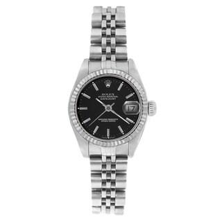 Pre-owned Rolex Women's 69174 Datejust Jubilee Bracelet Black Stick Watch