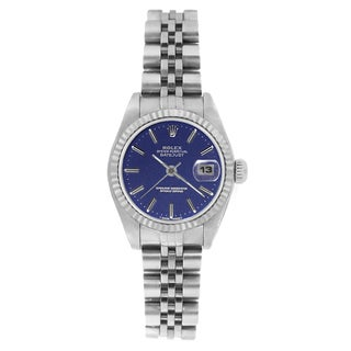 Pre-owned Rolex Women's 69174 Datejust Jubilee Bracelet Blue Stick Watch