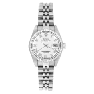 Pre-owned Rolex Women's 69174 Datejust Jubilee Bracelet White Roman Watch