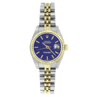 Pre-owned Rolex Women's 69173 Datejust Two-Tone Blue Stick Watch
