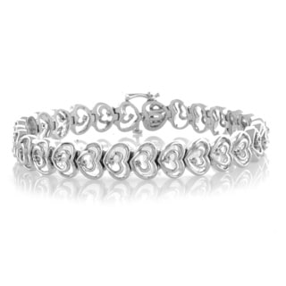 Bridal Symphony Sterling Silver 1/5ct TDW Diamond Heart Bracelet (I-J, I2-I3)