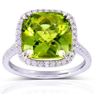 Annello 14k White Gold Cushion Peridot and 1/3ct TDW Halo Diamond Ring (G-H, I1-I2)