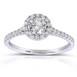 Annello 14k White Gold 5/8ct TDW Round Diamond Halo Engagement Ring (H-I, I1-I2)