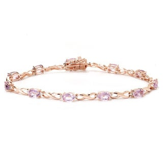 "14k Rose Gold 1/6ct White Diamond Kunzite ""X & O"" Link Bracelet (H-I, I2-I3)"