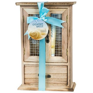 Ocean Side Breeze Wood Curio Bath Gift Set