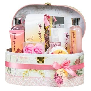 Pink Peony Jewlery/ Cosmetic Box Spa Bath Gift Set