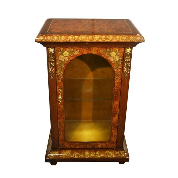 Single Door Glass Door Cabinet Inspired by Sorrento Inlaid Wood Cabinets