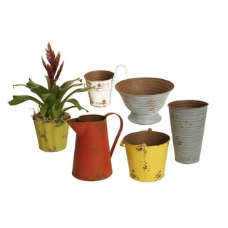 Wald Imports Assorted Color Metal Planters in assorted Shapes & sizes (Set of 6)